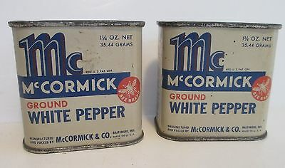 Vintage McCormick Ground White Pepper Bee Brand Lot of 2 Tins 1 1/4 oz.