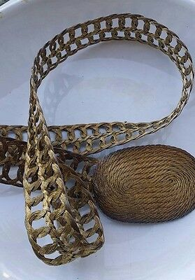 Vintage Braided Woven Brass Belt w/ Buckle Hand Made in Greece