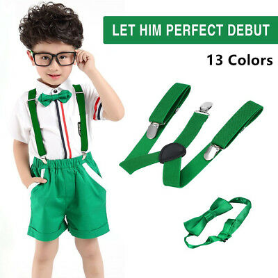Polyester Kids Design Suspenders and Bowtie Bow Tie Set Matching Ties Outfits ZJ