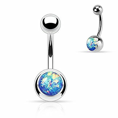 1 - 14 Gauge 3/8 Inch Stainless Steel Barbell Blue Opal Glitter Set Belly But...