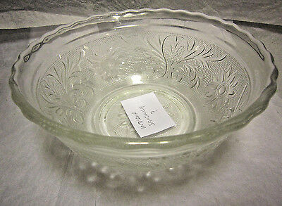 "Indiana Glass ""Sandwich"" Design Clear Glass 6"" Bowl 1920-1970's"