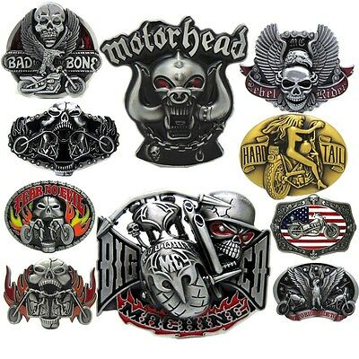Vintage Motorhead Skull Head Machine Motorcycle Biker Lot Leather Belt Buckle