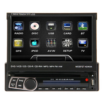 Universale 1DIN AUTORADIO CON NAVI GPS BLUETOOTH TOUCHSCREEN DVD/CD USB SD MP3