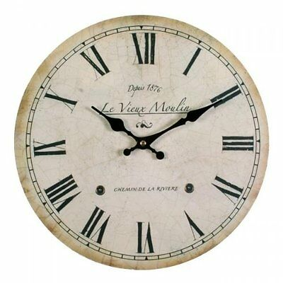 Vintage French Style Wall Clock. Shabby Chic Antique Cream 34 centimetres