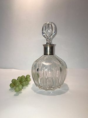 "Beautiful Art Deco German 830 Silver Heavy Art Glass Crystal Decanter 9""  tall"
