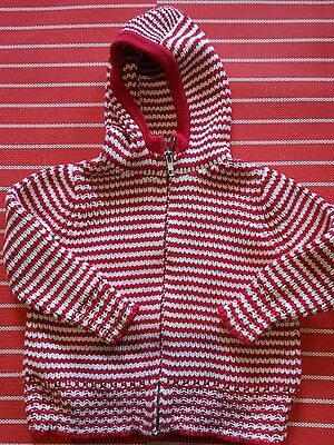 Gorgeous Seed baby girls jumper/ jacket red and white thick boucle, size 1-2 Euc