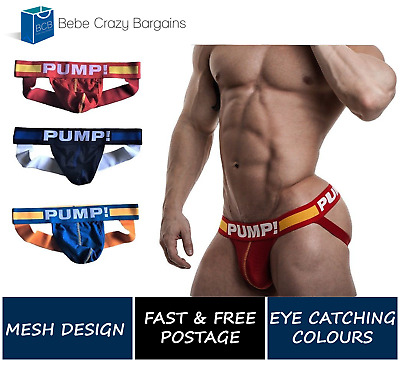 Pump! Mens Mesh Jockstrap Underwear Undies Jock Gay Sports Colour S M L XL Size