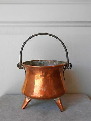 French Vintage COPPER PLANTER Jardiniere on 3 copper legs