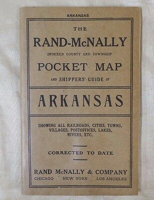 Antique 1911 Rand McNally Pocket Map Arkansas Railroads Cities Towns Rivers Lake