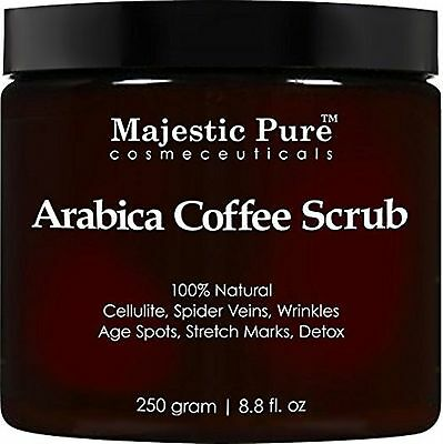 Arabica Coffee Scrub From Majestic Pure Helps Reduce Cellulite Wrinkles Stret...