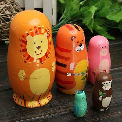 Set of 5pcs Hot Wooden Nesting Doll Matryoshka Animal Russian Doll Paint Gift DS