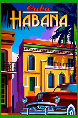 Cuba Havana Vintage Travel Amazing Art Silk Poster 24x36""