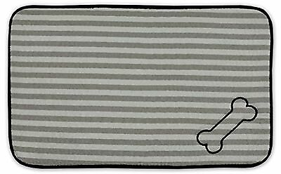 DII Bone Dry Stripe Embroidered Paw Print Pet Mat for Food Water Treats in Mi...