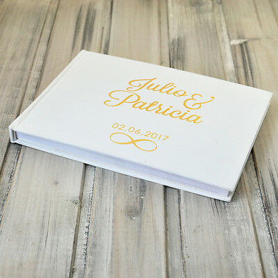 Personalized Wedding Guest Book, Gold Foil Wedding GuestBook, Custom Names&Date