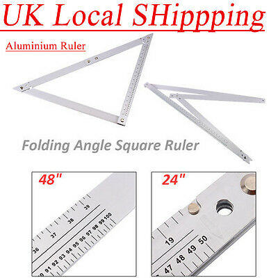 "Folding Square 24/48"" Aluminium Ruler Angle Flooring Builders DIY Tool UK Seller"