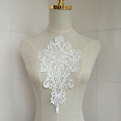 White Lace DIY Embroidered Sew Iron on Patch Badge Bag Dress Applique 30*17cm