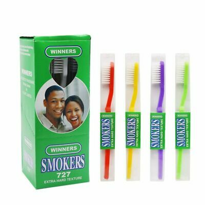 6PCS/Lot Toothbrush For Smokers Extra Hard White Bristles Six Different Colors