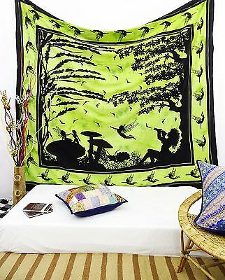 Indian Vintage Tapestry Angel Printed Green Cotton Wall Hanging Decor 92 X 82