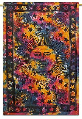 India Vintage Sun and Moon Print Cotton Decor Multicolor Wall Tapestry 84X56