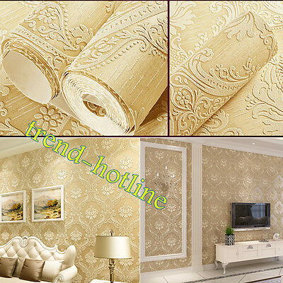 European Style Damask 3D Embossed Wallpaper Nonwoven Thicken Wall Decoration 10M