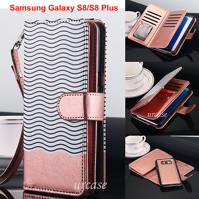 Samsung Galaxy S8 / S8+ Luxury Wallet Case Flip Leather Removable Magnetic Cover