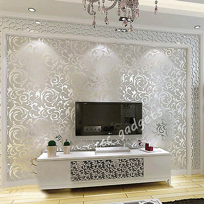 10M Silver Gold Wall Paper Wallpaper Roll Damask Embossed Feature 3D Textured