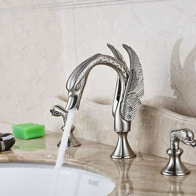 Basin Sink Faucet Swan Shape Dual Knobs Widespread Brushed Nickel Brass Tap