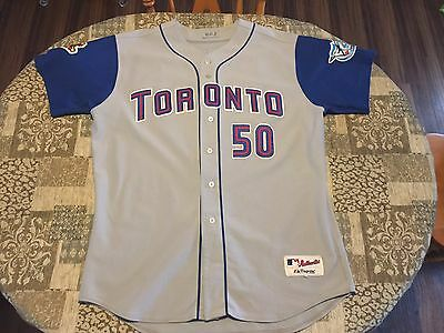 2001 Game Worn Used Joey Hamilton Toronto Blue Jays Jersey Size 54