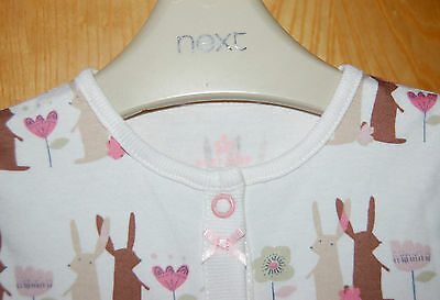 ♡ Next ♡ NEW ☆ Baby Girl ☆ Lovely BUNNY Sleepsuit Babygrow 6-9 Months ♡