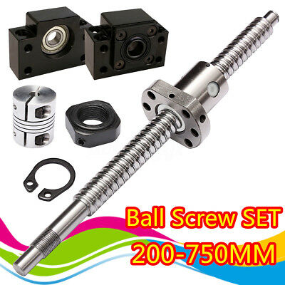 SFU1605 Antibacklash Ball Screw L250mm-750mm&BK12 BF12 +6.35x10mm Coupler Set US