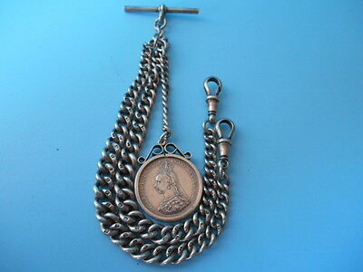 SOLID SILVER DOUBLE ALBERT CHAIN & VICTORIAN 2 188 SHILLING FOB NOT SCRAP 46.1gm
