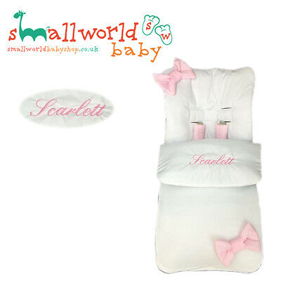 Personalised White With Pink Bows Cosytoes With Harness Pads