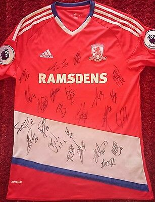 Middlesbrough 16/17 squad signed shirt / PROOF / COA