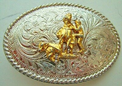 "Vintage German Silver Western Belt Buckle Cowboy Calf Steer Roping 3"" x 2"" Oval"