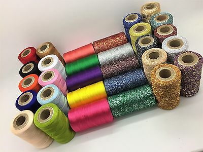 30 x Large Art Silk Rayon 100% Sewing Silk With Metallic Embroidery Threads UK