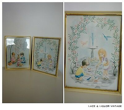 CUTE KITSCH vtg 1960s PAIR OF CHILDRENS PRINTS PLAYING TEA PARTY NURSERY FLORAL