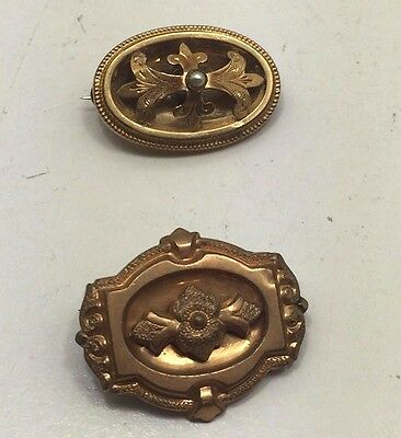 Rare Antique Vintage Estate Victorian Seed Pearl Gold Brooch Pendant set of two