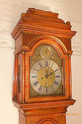 18th Cent London Red Lacquer Longcase Clock