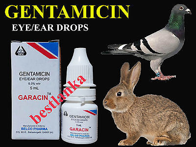 Gentamicin Eye Drops Birds Pigeon Rabbit Dog Cattle Horse Sheep Goat Cat 5ml