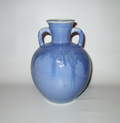 "Blue Drip Double Handled Vase 8"" Art Pottery Not Signed Vintage"