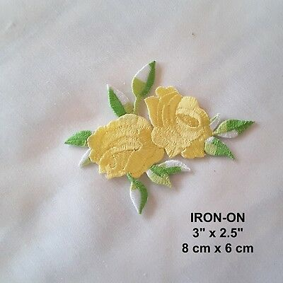 YELLOW Roses Floral Embroidered Iron-on Emblem Badge Patch Rose Flower Applique