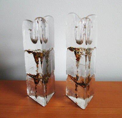 Thorn Glass Studio 2 Candle Holders Triangular Ice Brown Lava Signed Canada