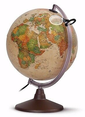 Globe 30cm Antique-Style ILLUMINATED with Magnifying Glass 'Marco Polo'