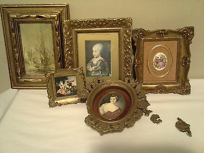 Mixed lot of vintage gold ornate picture frames with pictures/cameos