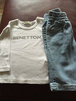 Boys Benetton Jeans And Long Sleeved Top Age 1-3 Months