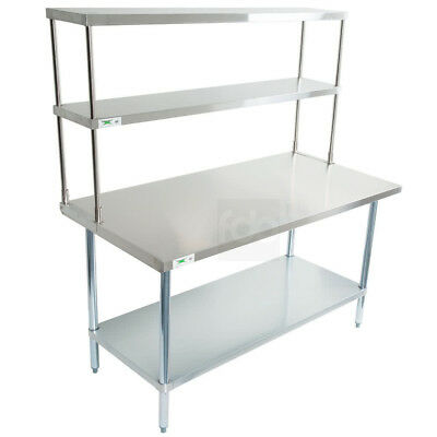 "30"" x 60"" Stainless Steel Work Prep Table Commercial Overshelf Double Over Shelf"