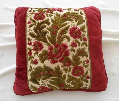 Vintage Velvet Chenille Embroidered Throw Pillow Red Green Floral Italy
