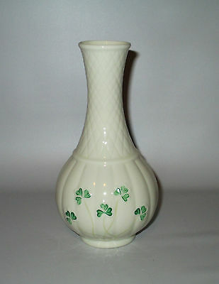 "Belleek Bud Vase Green Shamrock Melon 6 1/2"" Irish Porcelain Brown Mark Ireland"