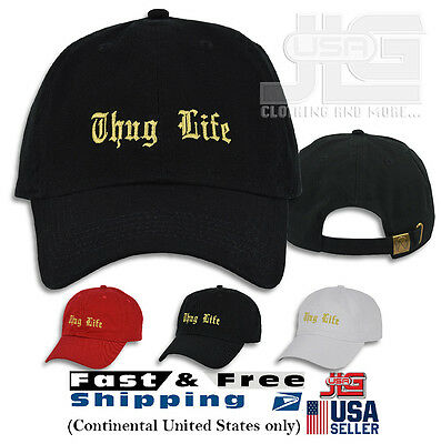 THUG LIFE Hat Embroidered Dad Cap Baseball Styles Cotton Adjustable Curved Color