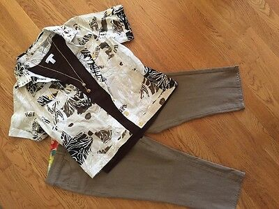 Women's 4 Pc Outfit: (L) Jacket & Top; NWT! 14 Crop Pants; NWOT Necklace.
